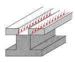 Verbund - 3: kontinuierliche Kräfte entlang der Verbindungslinie der beiden Bauteile.