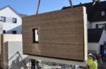 Holz-Beton-Verbund Wandelement beim Einbau in das InnoLiving